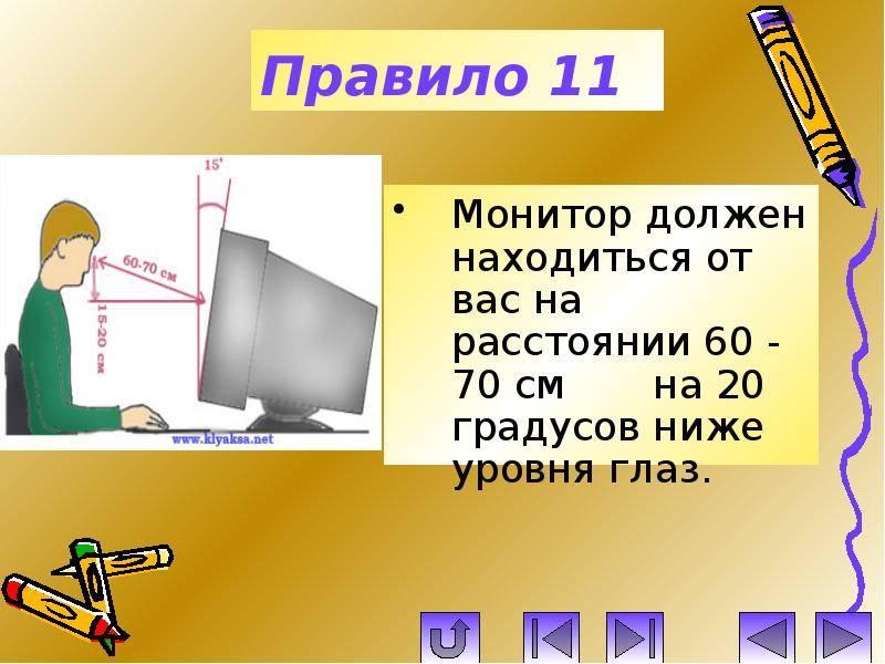 Расстояние от монитора до глаз - минимальное и максимальное