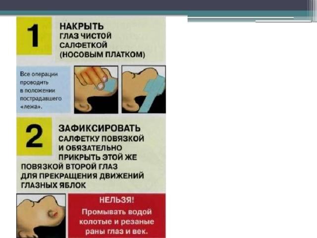 Первая помощь при травме глаза: оказание помощи при повреждении глаз и век