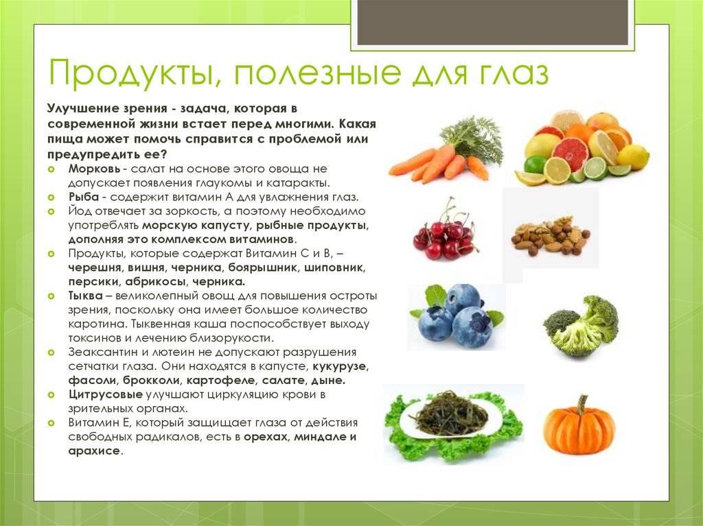 Полезные продукты для улучшения зрения, основы диеты и питания для глаз, особенности для детей