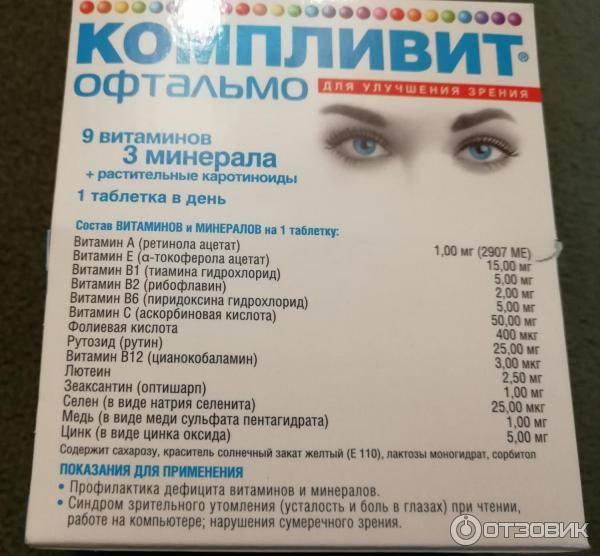 Компливит офтальмо витамины для глаз - инструкция, отзывы, аналоги и цена
