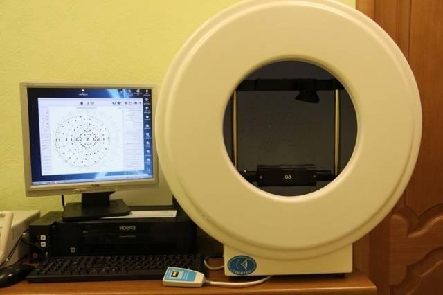 Исследование полей зрения при помощи компьютерной периметрии глаза