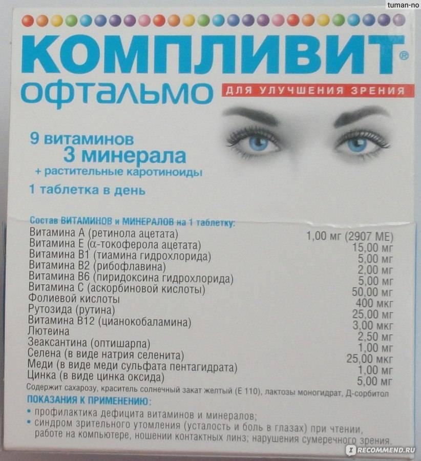 Витамины компливит офтальмо для глаз: инструкция по применению, состав, дозировка
