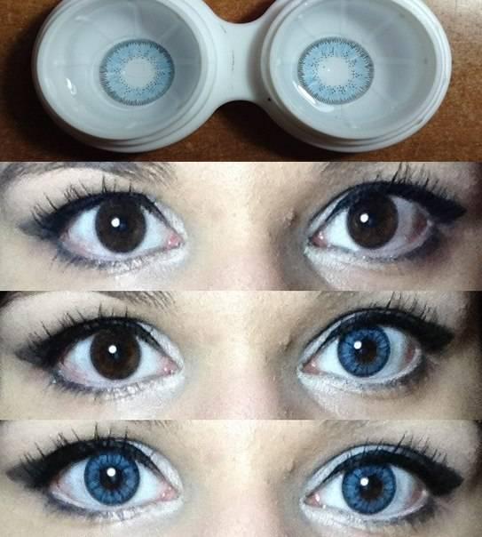 Учимся выбирать цветные кл: как выглядят и изменяют цвет глаз голубые контактные линзы