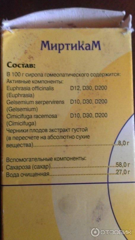 Миртикам: инструкция по применению сиропа и таблеток, отзывы и цена на препарат