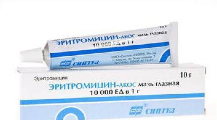 Эритромициновая мазь - инструкция по применению для детей и взрослых