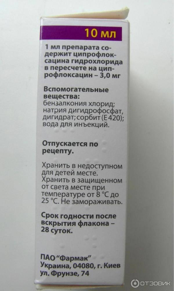 Ципрофарм глазные капли: инструкция по применению, цена