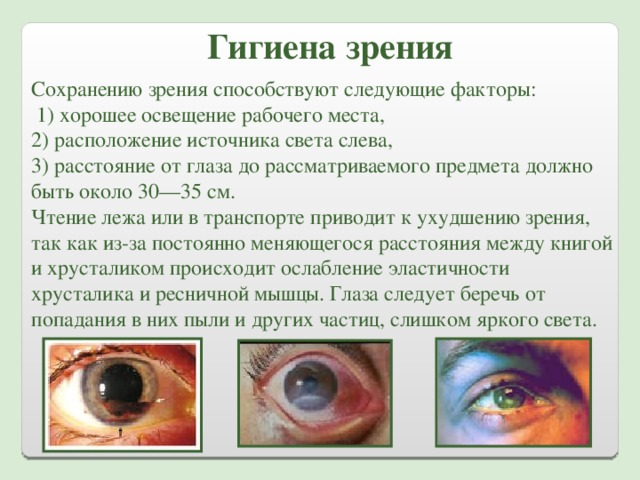 Правила гигиены зрения и их обоснование