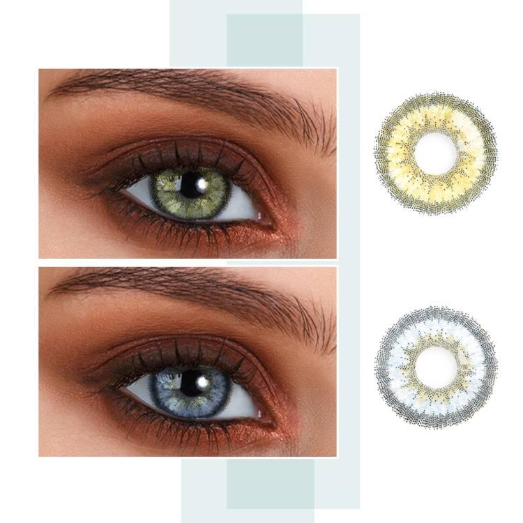 Цветные линзы для глаз - светло-зеленые, голубые, серые контактные