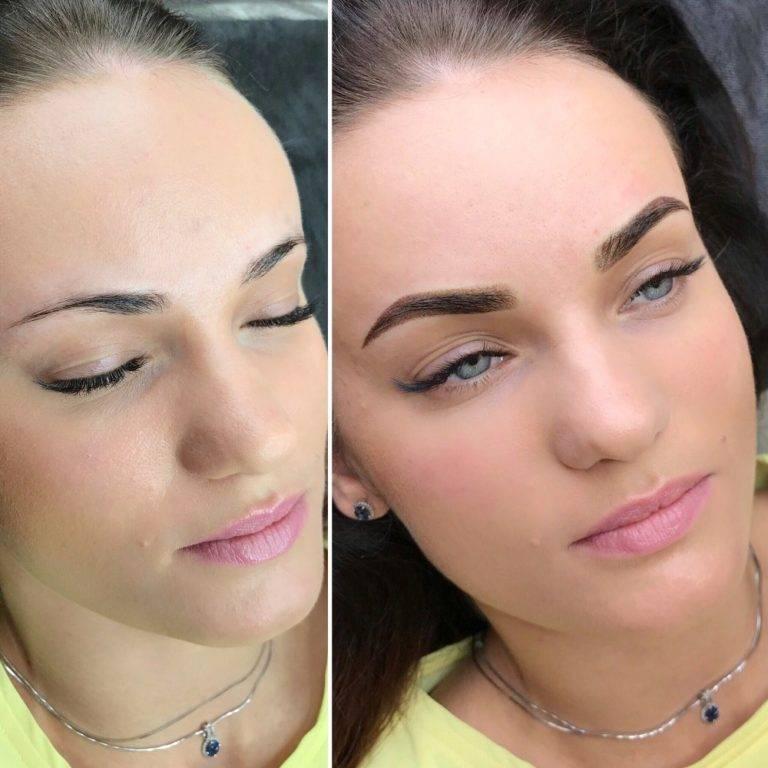 Пудровый татуаж бровей - фото до и после, эффект, отзывы