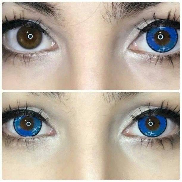 Голубые линзы: на карие и зеленые глаза, фото до и после, разновидность, преимущества, производитель, цена и где можно купить