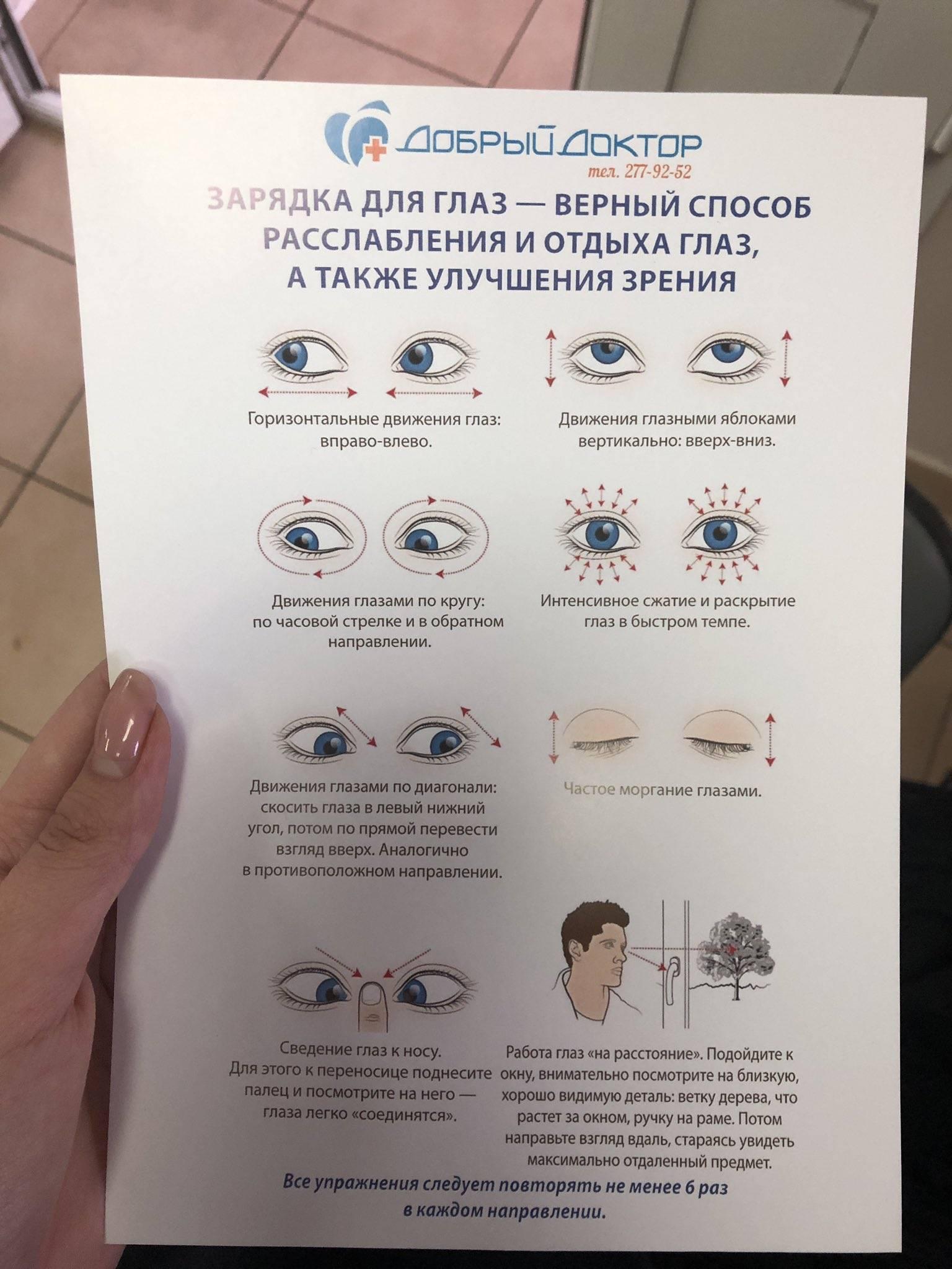 Гимнастика для глаз для улучшения зрения: комплекс упражнений