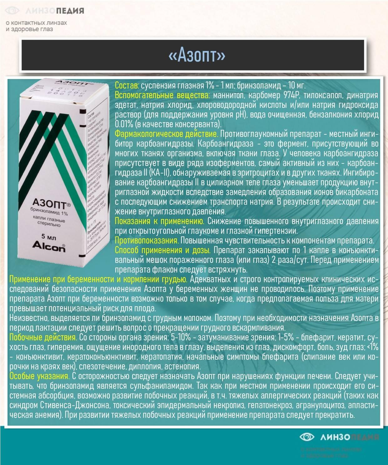 Азопт — препарат для глаз. инструкции, показания, отзывы и аналоги