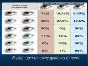 Вероятность рождения голубоглазого малыша, если у родителей глаза карие