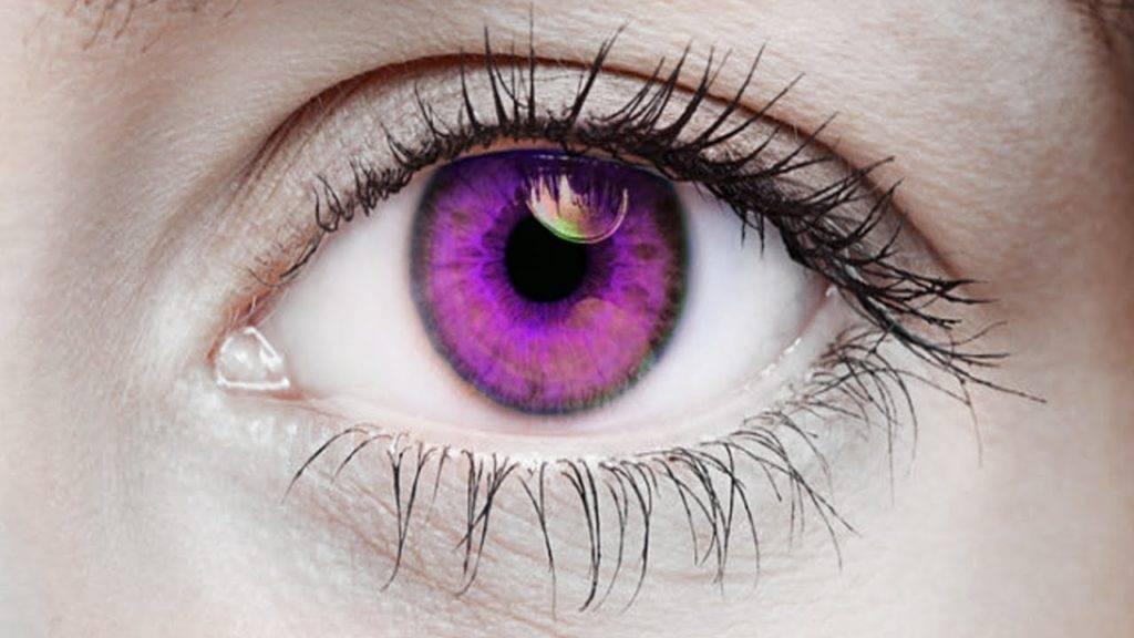 Фиолетовый цвет глаз - бывает ли у человека и в чем причина
