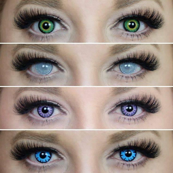 Линзы зеленые на карие глаза и серые