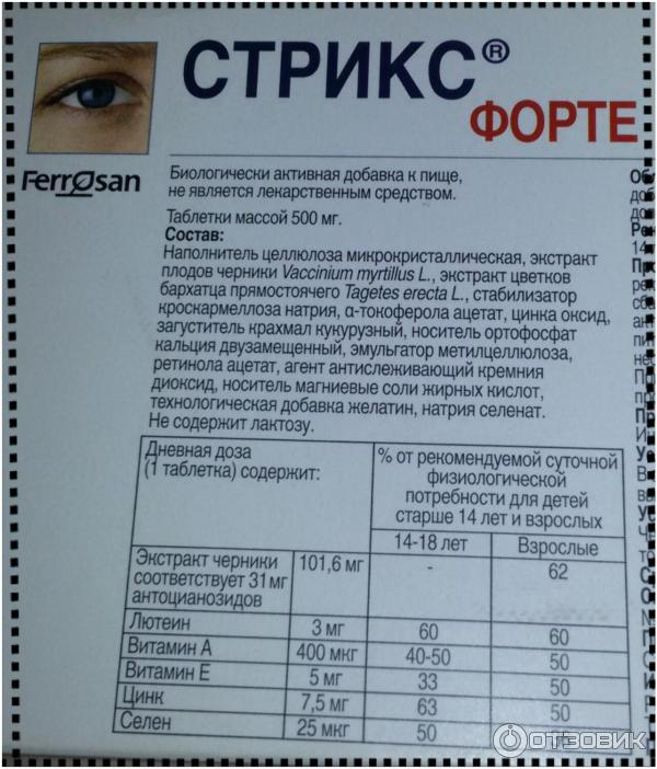 Инструкция по применению таблеток для глаз стрикс форте