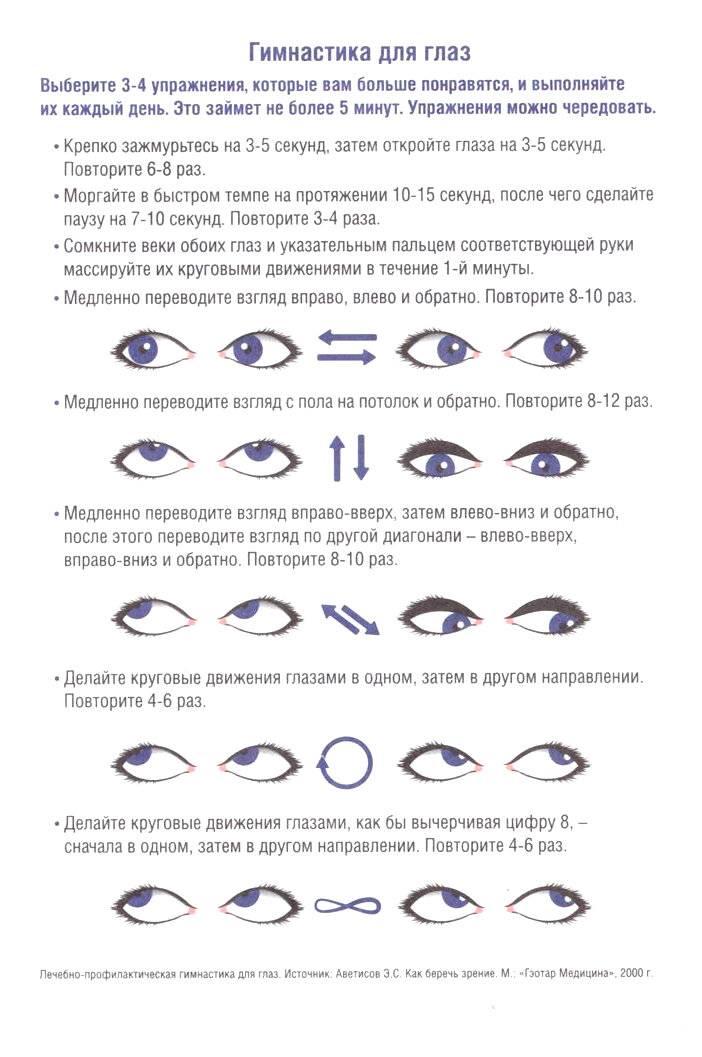 Гимнастика для глаз по аветисову