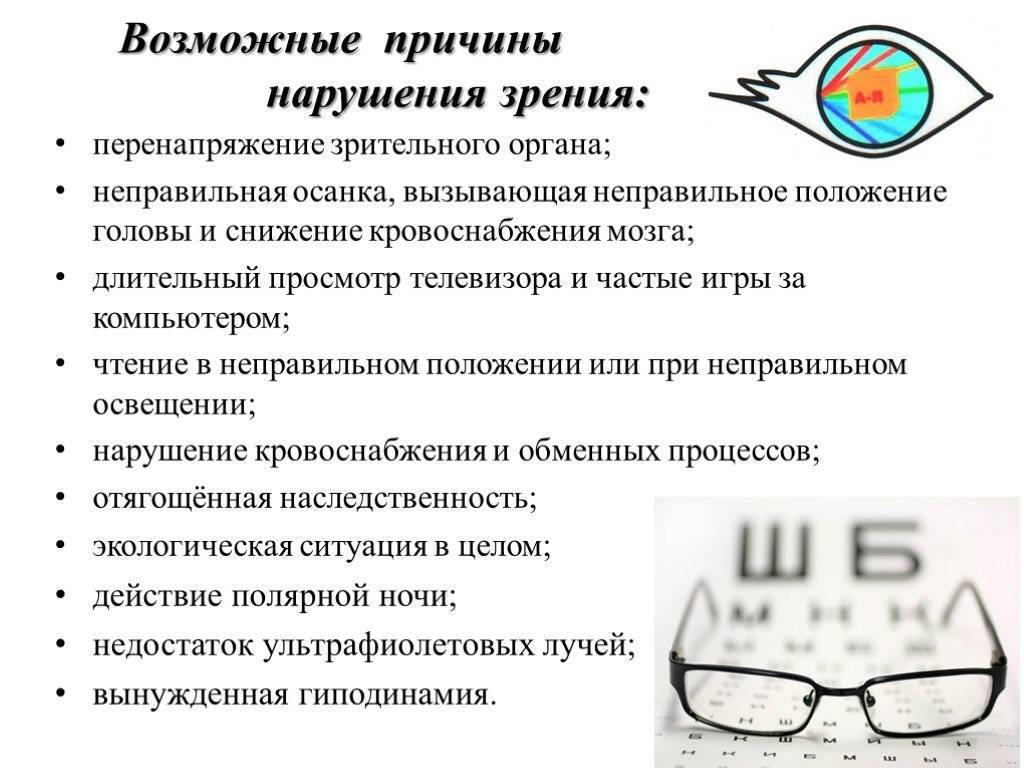 Профилактика нарушения зрения. причины нарушения зрения