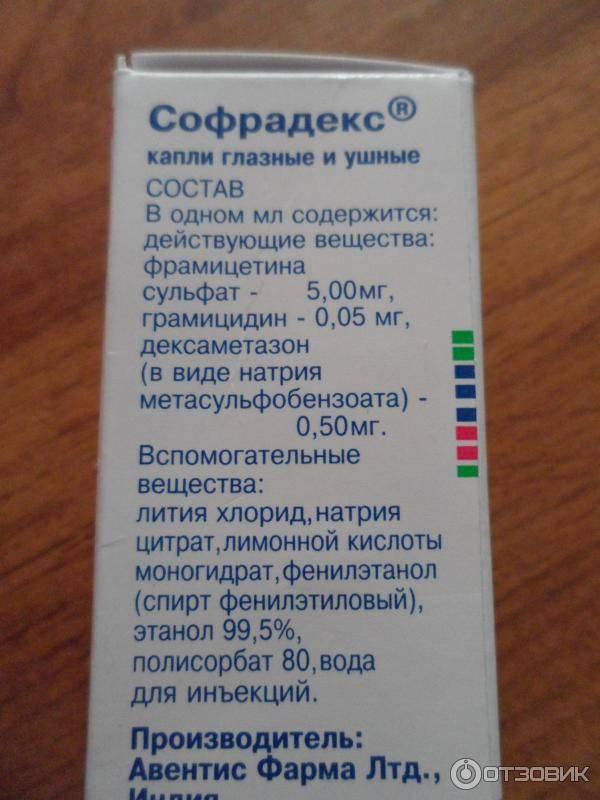 Глазные и ушные капли софрадекс: инструкция по применению, цена, отзывы и аналоги - medside.ru