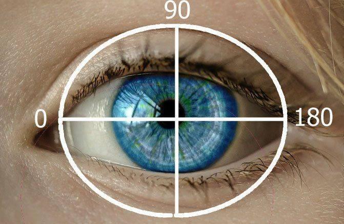 Вертикальный и горизонтальный меридианы глаза