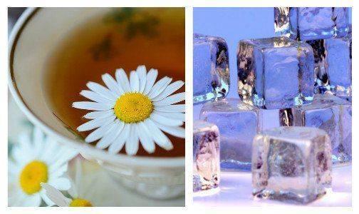 Ромашки и кубики из льда против синяков