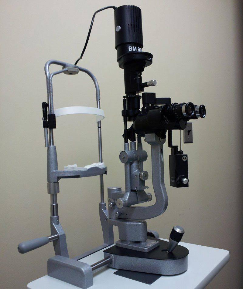 Биомикроскопия с помощью щелевой лампы